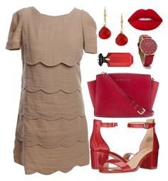 """Contest Entry - Red Filler"" by angelwindsor ❤ liked on Polyvore featuring MICHAEL Michael Kors, Nine West, Lime Crime, Charming Life, Sandro, RumbaTime, Victoria's Secret, WorkWear, dressy and red"