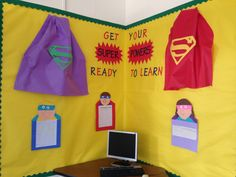Cute bulletin board- could use dollar store table cloths for the capes! Superhero School, Superhero Classroom Theme, Superhero Room, 2nd Grade Classroom, Classroom Displays, Future Classroom, School Classroom, Classroom Themes, School Fun