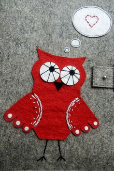 red sewn on owl