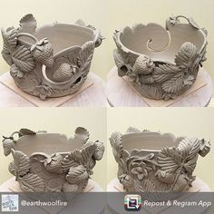 Summer Strawberries yarn bowl Available as made to order in our etsy shop earthwoolfireets click now for more info. Clay Art Projects, Ceramics Projects, Clay Crafts, Ceramic Clay, Ceramic Pottery, Pottery Art, Pottery Sculpture, Sculpture Clay, Vase Deco
