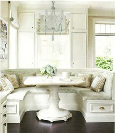 """I am seriously entertaining the idea of building a """"nook"""" area in our dining room instead of a formal dining table. Trying to figure out how to make it work."""