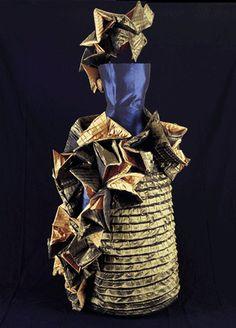 """Siderita"": taffeta dress blue and old gold produced for the Countess Pralormo"