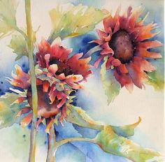 Red Sunflowers by Yvonne Joyner Watercolor ~ 28 in. x 28 in.
