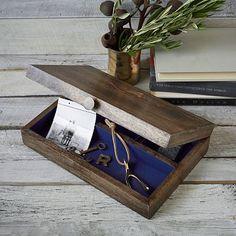 Rustic Wood Divided Box #westelm $59