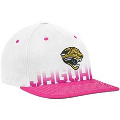 317da2201a8 Reebok Jacksonville Jaguars White-Pink Breast Cancer Awareness Flat Brim  Flex Hat Jacksonville Jaguars