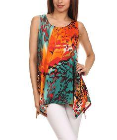 Another great find on #zulily! Teal & Orange Floral Handkerchief Tunic #zulilyfinds