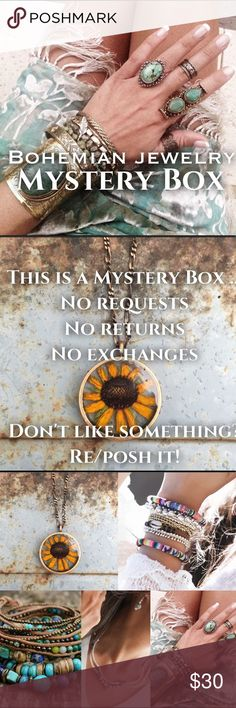 BOHEMIAN JEWELRY MYSTERY BOX (15 Pieces) Fun and vintage bohemian style jewelry all in excellent used condition. This box will include 15 pieces. You'll enjoy this box if this is your free style. Vintage Jewelry