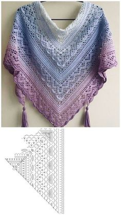 Crochet Shawl Diagram, Crochet Shawl Free, Crochet Poncho Patterns, Shawl Patterns, Crochet Scarves, Crochet Clothes, Crochet Stitches, One Skein Crochet, Crochet Girls