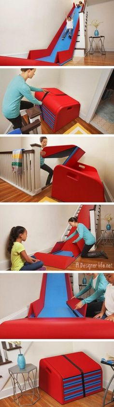 Awesome Products: A stair slide that converts your staircase into a slippery dip - Design Intuition - Ideen rund ums Haus - Need this in my house! A stair slide that converts your staircase into a slippery dip! Stair Slide, Slide Staircase, House Staircase, Spiral Staircases, Staircase Design, Baby Kind, Future Baby, Future House, My Dream Home