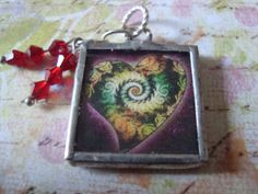 SWIRLY HEART  Soldered Glass Pendant by victoriacharlotte on Etsy, $8.95