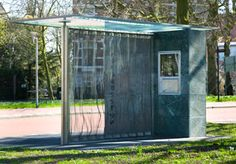 A mini Barcelona Pavilion works as a bus stop in Groningen, the Netherlands. By Rem Koolhaas.