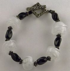 Black, white, and clear Lampwork glass bead bracelet
