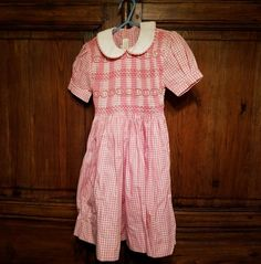 01e95f8b36134 IL BAULE DI ELIANNE Girls Boutique Pink White Gingham Smocked Dress Size 3  in Clothing