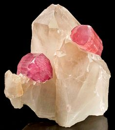 Classic specimen featuring two reddish-pink Tourmalines set atop a large Quartz crystal!