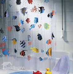 New Arrival Hyaline Cartoon Tropical Fishes Printing Shower Curtain - beddinginn.com