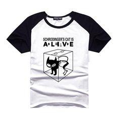 Pas cher Tbbt chat de schrödinger garçons noir blanc Raglan T Shirt hommes TV Show T   Shirt homme T shirt vêtements garçon Geek Nerd étudiant vêtements, Acheter  T-shirts de qualité directement des fournisseurs de Chine:             Hommes et femmes impression t-shirt           Matériel: 95% coton + 5% Spandex   Remarque: choi