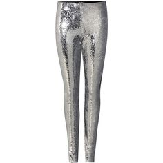 Isabel Marant Izard Embellished Leggings ($455) ❤ liked on Polyvore featuring pants, leggings, silver, white pants, embellished leggings, white trousers, legging pants and white leggings