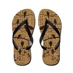 Bird Shadows Burlap Flip Flops #fashion #shoes