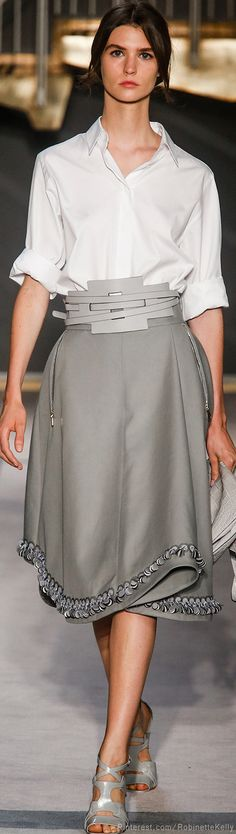 Tod's | S/S 2014 the skirt adds some needed pounds for this model... not needed on me.  i like the belt, though!