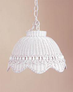 White wicker hanging beaded swag lamp.  I'd love this for my kitchen. Also comes in  brown tea-wash, & chocolate colors.