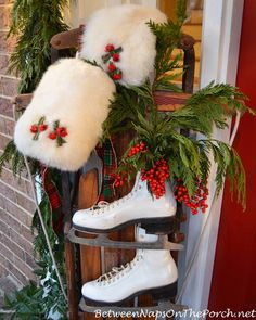 Christmas Porch Decorations, Sled, Ice Skates, Muff, Greenery, Berries, Cedar Garland Love the muffs!