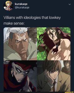 Villians With ideologies that Iowkey make sense: - iFunny :) All Anime, Otaku Anime, Manga Anime, Anime Rules, Anime Recommendations, Manhwa, Funny Anime Pics, Anime Crossover, Jojo Bizzare Adventure