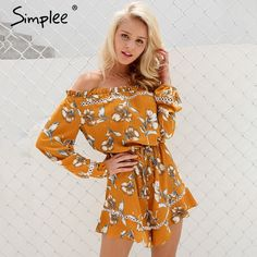 c135eecf876 Simplee Floral print off shoulder jumpsuit romper Women sexy hollow out  ruffle bow playsuit Summer beach long sleeve overalls