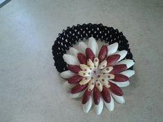 Cute white, burgundy and polka dot flower flower on elastic headband $3.99