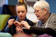 Bernadette teaching crochet.  Photography: Tom Oldham