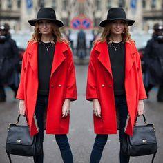#stealthelook #look #looks #streetstyle #streetchic #moda #fashion #style #estilo #inspiration #inspired #rubronegro #inverno #Jeans #vermelho #casaco #preto #chapeu