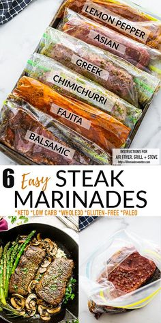 These Easy Steak Marinade Recipes made 6 ways will have you ready for any barbecue or cookout. With 6 easy options to choose from, they'll make your steak extra juicy and tender – and you'll learn how to cook it on the grill, over the stove or in the Air Fryer! Perfectly cooked steak full of Lemon Pepper, Asian, Greek, Chimichurri, Fajita or Balsamic flavors to switch up your steak dinner! All recipes are gluten-free, keto, low carb, paleo + Whole30! Freezer friendly + perfect for meal prep! Bhg Recipes, Best Beef Recipes, Veggie Recipes, Lunch Recipes, Slow Cooker Recipes, Favorite Recipes, Whole30 Recipes, Popular Recipes, Free Recipes
