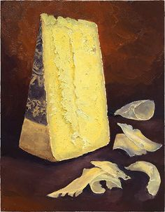 """L'Etivaz AOP"" : oil on wood, 14x11"" This is a beautifully delicious alpine cheese sent to me by Joe Salonia, of Gourmino LTD - master cheese makers in Switzerland. This alpine cheese differs from Le'Gruyere as its only made in summer months before its aged for at least 2 years. You can taste the grassy herbal influence of the season. SOLD: print available here: http://mikegeno.com/catalog/print_pages/cheese/L'Etivaz_AOP_PRINT.htm"