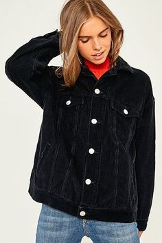 Shop BDG Western Black Corduroy Jacket at Urban Outfitters today. Courdoroy Jacket, Bomber Jacket Winter, Black Corduroy Jacket, Urban Outfitters Women, Jackets For Women, Clothes For Women, Women's Jackets, Future Clothes, Winter Coats Women