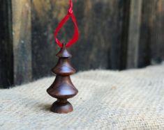 Wood Turned Christmas Ornament: Black Walnut Christmas Tree