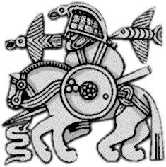 Óðinn Preceeded by an Eagle and Followed by a Raven.