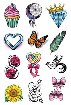 A Tattoo Series Just for the Ladies All your favorite girly tattoo designs brought together in 1 beautiful series. Series of 12 Tattoo designs includes: - Moon Catcher - Cupcake - Feather - Diamond Cr