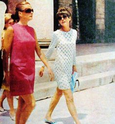 Audrey Hepburn vacationing in Istanbul, Turkey with Andrea Dotti and best friend Doris Brynner, June 1968. Audrey is wearing a Yves Saint Laurent dress.