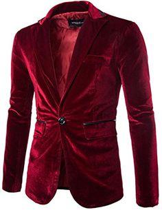 df184f5b15dd New Porlox Men s Slim Fit Peaked Lapel 1 Button Velvet Blazer Jacket Mens  Fashion Clothing.