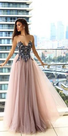 7e767da19 Popular Tulle Applique A Line Long Prom Dresses, SG164 #promdress  #promdresses #longpromdress