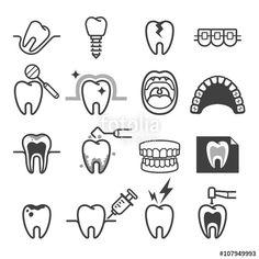 ベクター: Dental tooth icons. Vector illustration.点