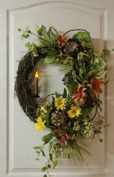 dif color flowers - country wreath diy | Wreath with country candle by joanne