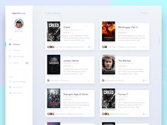 "via Muzli. ""Movie/Cinema UI Inspiration"" is published by Muzli in Muzli - Design Inspiration. Blog Layout, Web Layout, Card Ui, Database Design, Desktop Design, Ui Design Inspiration, Design Ideas, Ui Web, Dashboard Design"
