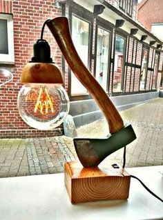 48 ideas for diy lamp light man cave Table Lamp Wood, Wooden Lamp, Table En Bois Diy, Wood Projects, Woodworking Projects, Woodworking Wood, Project Projects, Woodworking Videos, Diy Luz