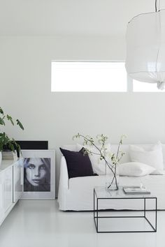 monochrome living room, spring branches