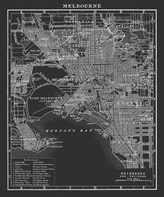 Melbourne Map Print : Black and White by FirstClassDesignCo
