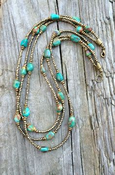 Multi Strand Turquoise Necklace with Czech Glass and Antiqued Copper