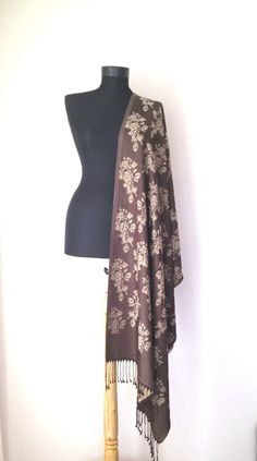 Brown Beige Shawl, Floral Pattern Scarf, Jacquard Shawl, Reversible Scarf, Evening Shawl, Long Brown Scarf, Gift for Her, Elegant Wrap,