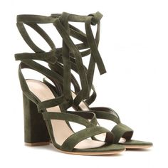 Gianvito Rossi Janis High Suede Sandals ($710) ❤ liked on Polyvore featuring shoes, sandals, green, suede sandals, gianvito rossi, suede shoes, green sandals and gianvito rossi shoes