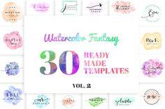 Watercolor Fantasy Logo Kit Vol. 2 by IsikChic on @creativemarket