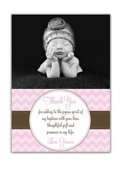 {Gianna} Photo Baptism Thank You Card Photo by digibuddhaPaperie on Etsy, $15.00  http://www.etsy.com/listing/84358892/photo-baptism-thank-you-card-photo